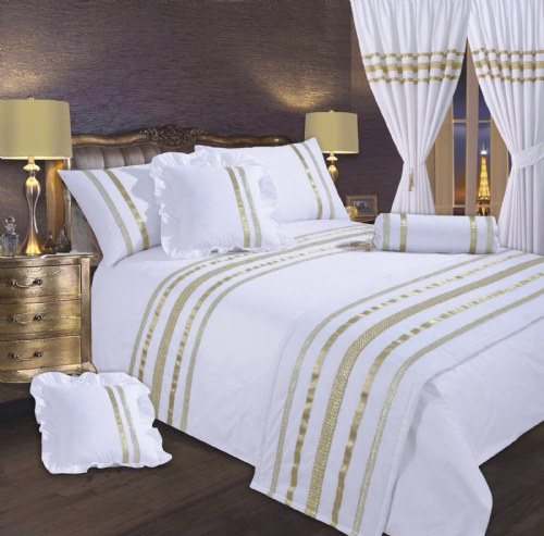 WHITE & GOLD COLOUR STYLISH SEQUIN DUVET COVER LUXURY BEAUTIFUL GLAMOUR SPARKLE EGYPTIAN COTTON BEDDING